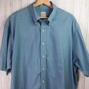 Brooks Brothers Green Blue Check S/S Shirt XL